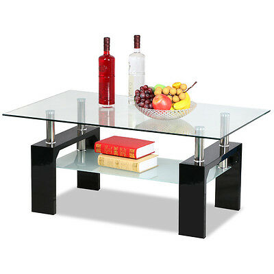 2 Tier Coffee Table Rectangula Glass Top Modern Style Chrome Pole Wooden Leg