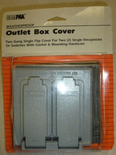NOS RECEPTS WEATHERPROOF #16324 2 GAMPAK 2-GANG SINGLE FLIP OUTLET COVER for