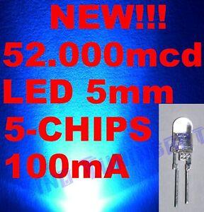 Nr 10 LED BLU BLUE 5mm 5 mm 5-CHIPS 75.000mcd 0,5W 60°