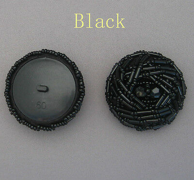 2 X Handmade Beaded Dome Button ( Rose ) #14 Size: 60L Black