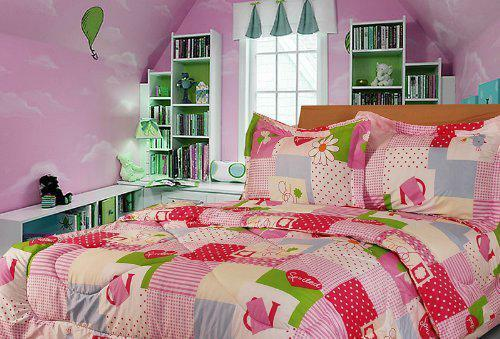 Twin Full Pink College Bedding Comforter Set Microfiber Colorful Floral Decor