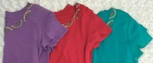 Lot of 3  Style & Co. Petite Top Size M Petite PM 100% Cotton Blue Pink Purple