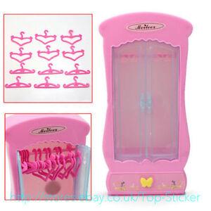 New-Barbie-Doll-Princess-Furniture-Closet-Wardrobe-amp-12pcs-Clothes-Hangers-display