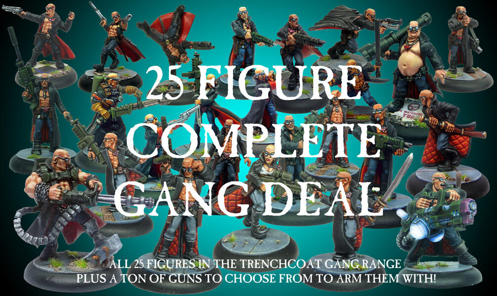 Heresy Miniatures Sci-Fi Trenchcoat Warriors Complete Gang 25 Figure Deal