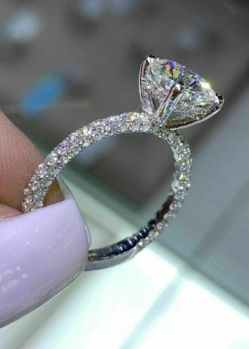 2.Ct Round Cut VVS1 Diamond Solitaire Engagement Ring 14K White Gold Finish
