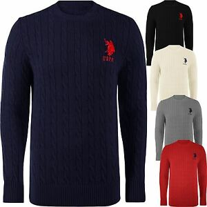 US-Polo-Assn-Cable-Knit-Jumpers-Pullover-Sweater-For-Men-Lauren