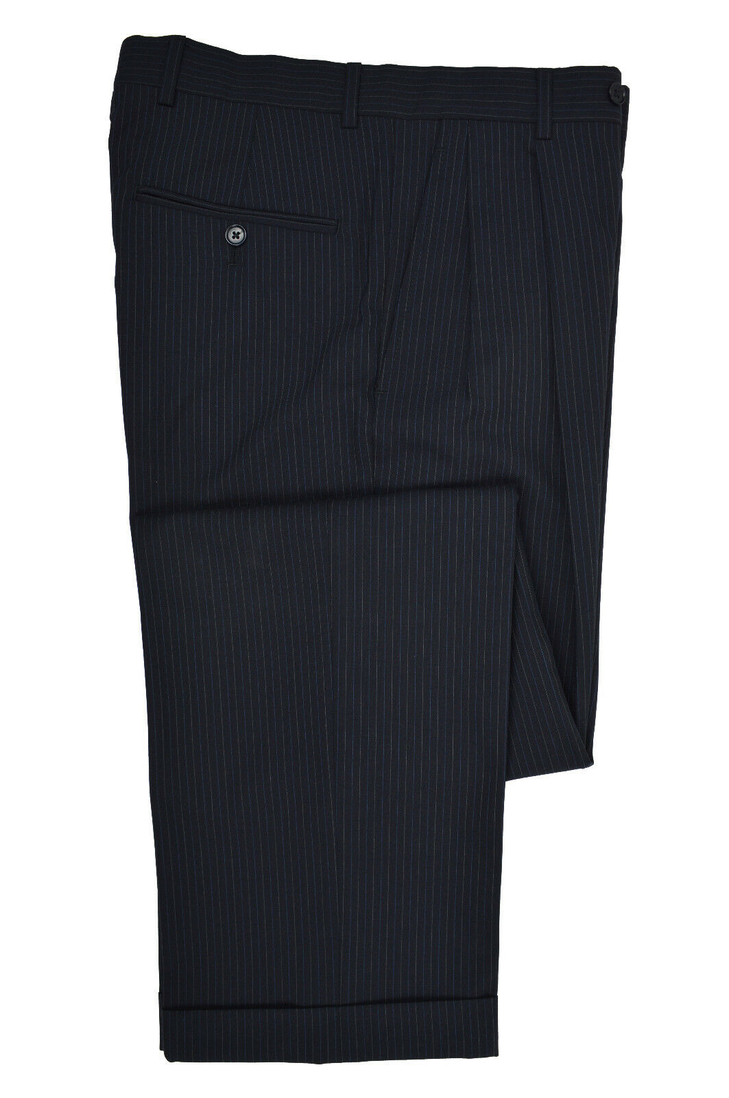 Brooks Bredhers Mens Navy bluee Striped Pleated Cuffed Dress Pants 31W 31L 5911-3
