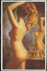 Earl Moran Authentic Pin-Up Poster Art Print 11x17 Nude At The Dressing Table