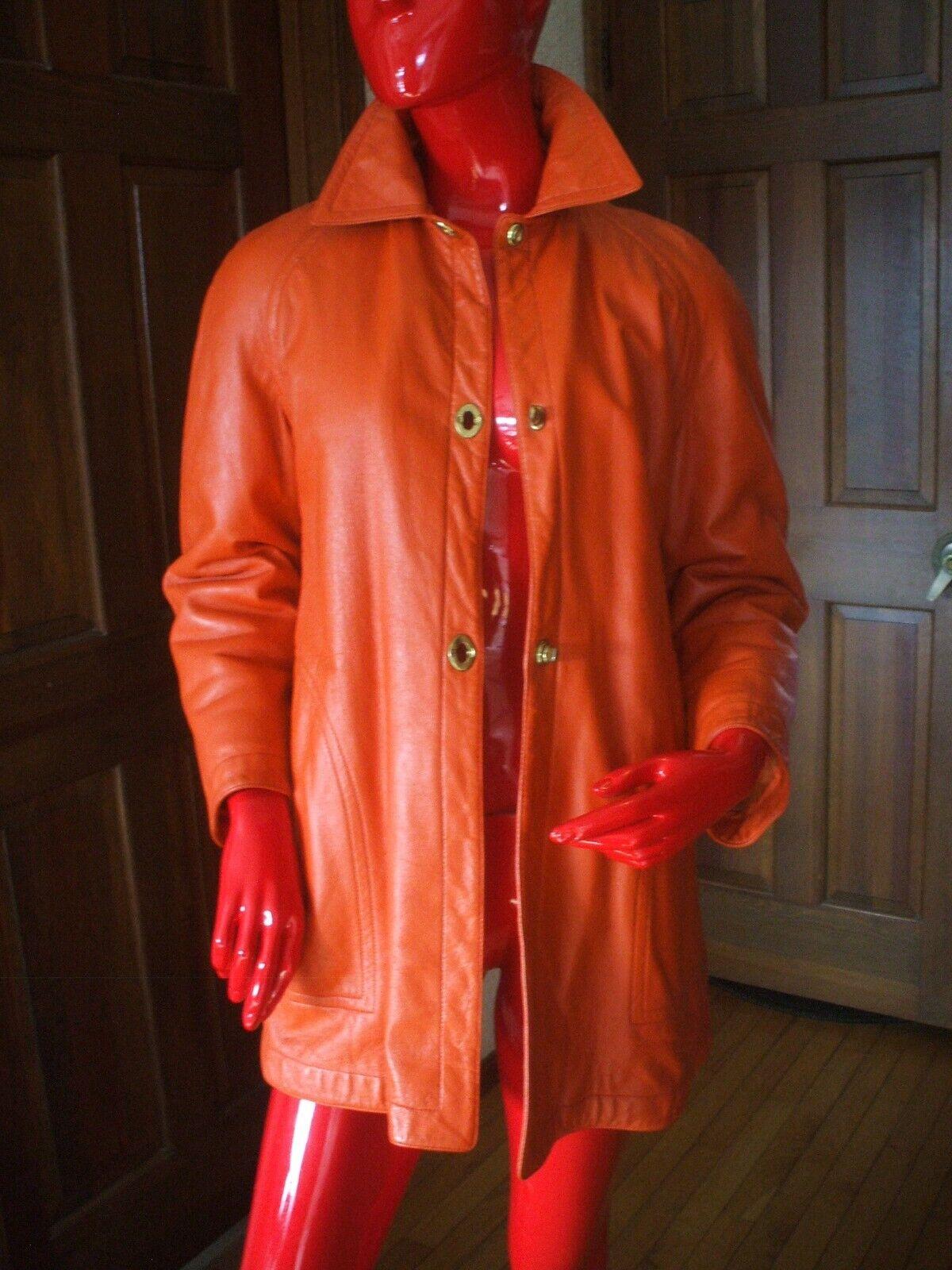 Bonnie Cashin Sills MOD Orange Leather Coat Vinta… - image 1