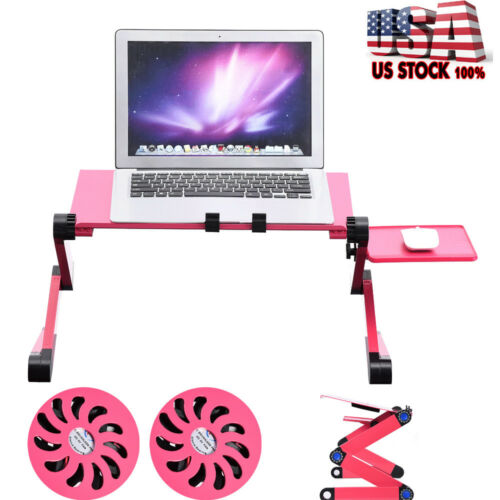 360° Folding Laptop Lap Desk Notebook PC Bed Sofa Table Stand W.Double Fan Red