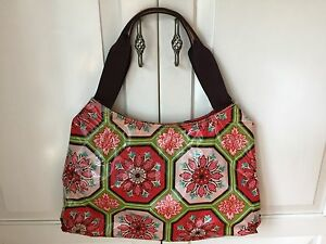 Image Is Loading Braciano Vinyl Coated Purse Tote Bag Red Green
