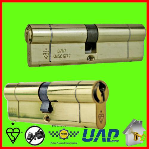 Pair of Keyed Alike UAP 1 Star High Security Key-Key Euro Cylinders Anti Snap