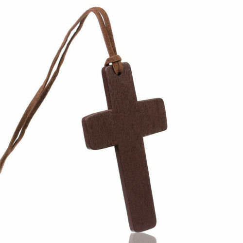 Large Wood Wooden Crucifix Cross on Long Soft Cord Pendant Necklace N008 a F01