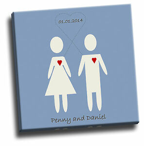 Personalised Couple Anniversary Canvas Picture Add Your Own Names /& Date