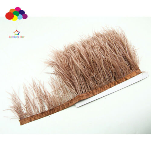 Hot 1//5//10 meter light coffee Ostrich Feathers 8-15cm//3-6inch Fringe Ribbon Trim