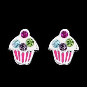925-Sterling-Silver-Cupcake-Crystal-Cup-Cake-Stud-Earrings-Studs-Children-Women