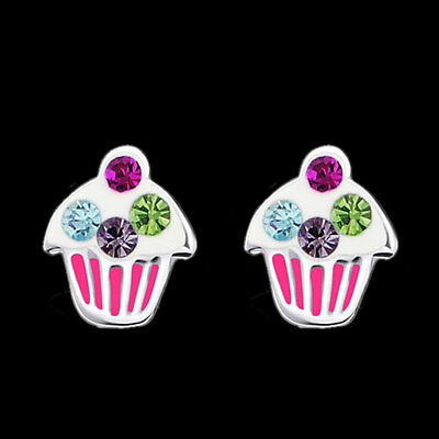 Girls Cupcake Crystal Ear Studs 925 Sterling Silver