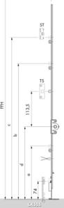 2300 mm Aubi a300 DK Boîte de vitesses gk316 const Charnières gk//go556 FFH 2000 MM