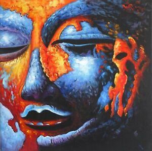 Details Zu Finedecoart Leinwand Bild Buddha Asien Indien Gemälde Gemalt Blau Kopf Porträt