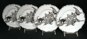 NEW-222-Fifth-China-WICCAN-LACE-WITCH-4-Halloween-Plates-8-1-2-black-cat