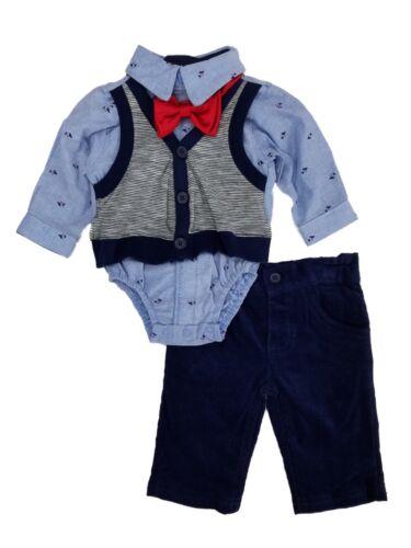 Infant Boys 2-Piece Striped Vest Bodysuit with Bowtie /& Corduroy Pant Set