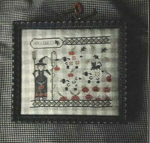 Halloween Historical Sampler Company Witch Cat Pumpkin Hat Cross Stitch Chart