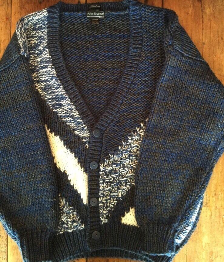 Peter England Handmade bluee Button Up Geometric Sweater Men's XL SDB