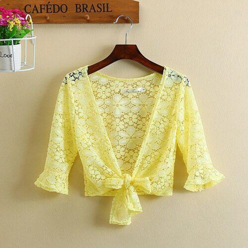 Lady Lace Floral Shrug Short Cardigan Cropped Bolero Shawl Ruffles Coat Sweet