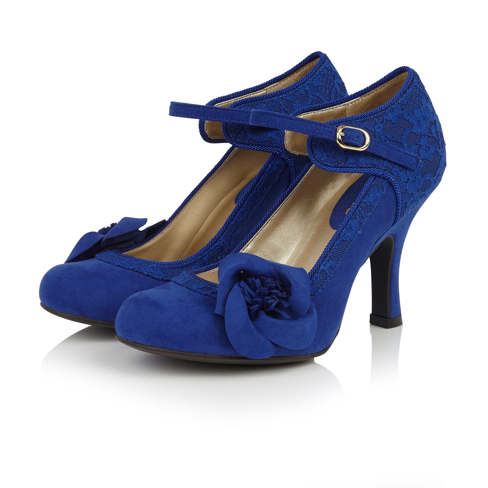 Ruby Shoo Belle Divino Ltd Edition Anna Lace Bar schuhe Cobalt Blau UK2-9 EU35-42