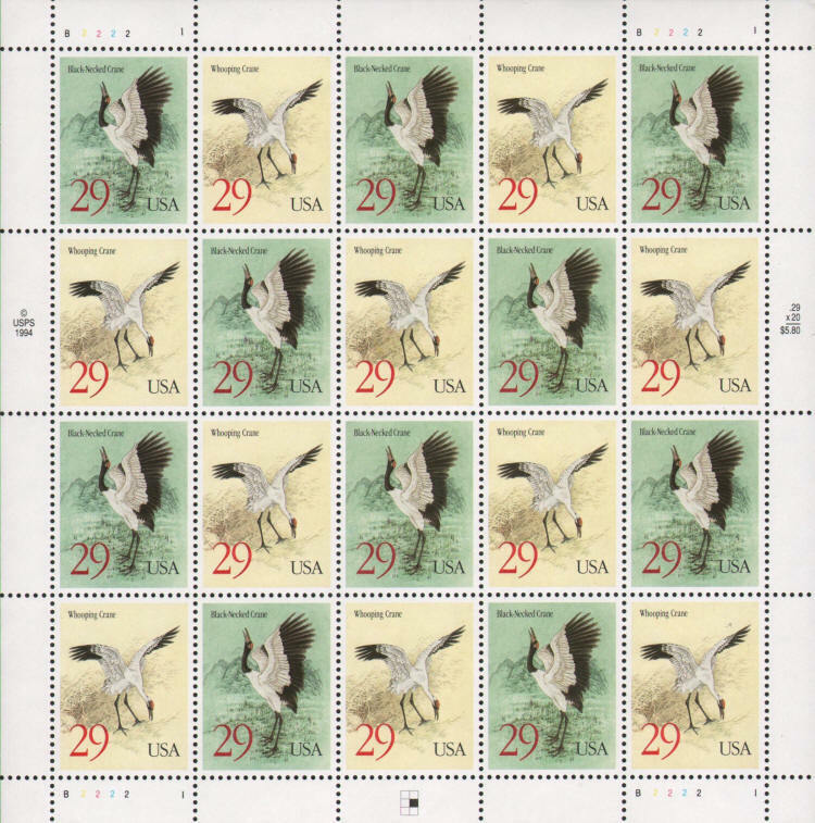 1994 29c Whooping & Black-Necked Cranes, Sheet of 20 Sc