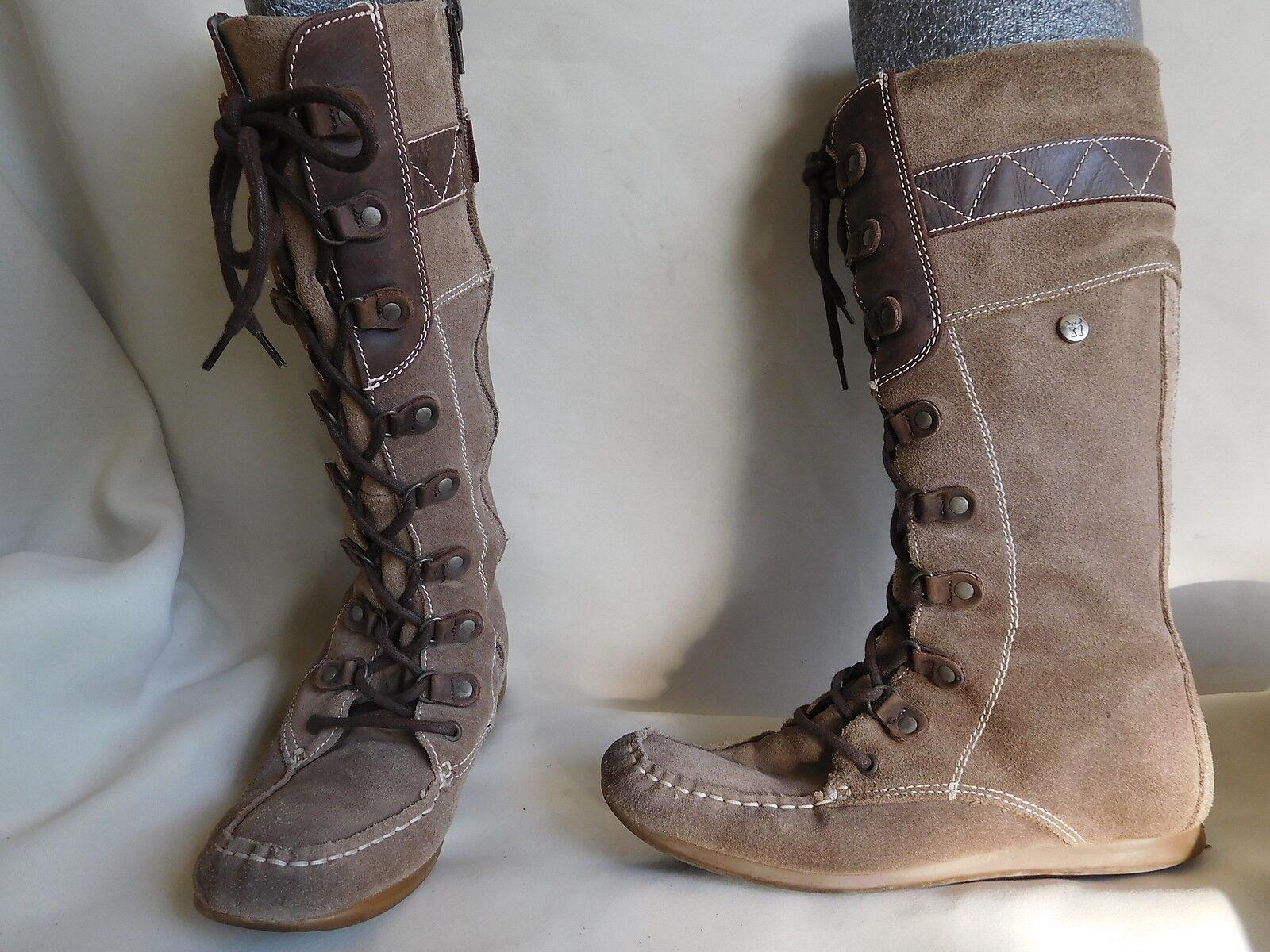 MAG CHAUSSURE BOTTE FEMME FILLE CUIR DAIM BEIGE MARRON pt 38 NAVAJO bottes chaussures