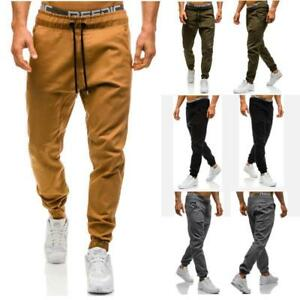 Para Hombre Sarga Jogger Pants Urbano Hip Hop Harem Casual Pantalones Slim Fit Elastico Ebay
