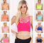 Multi Criss Cross Lattice Lace Up Front Caged Seamless Bodycon Bralette Top Neon