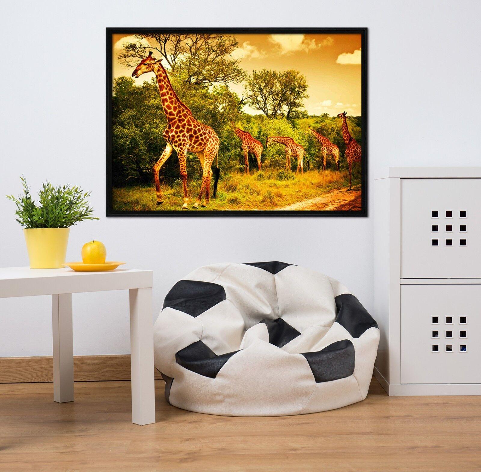 3D Giraffe Group Forest 2 Framed Poster Home Decor Print Painting Art WALLPAPER