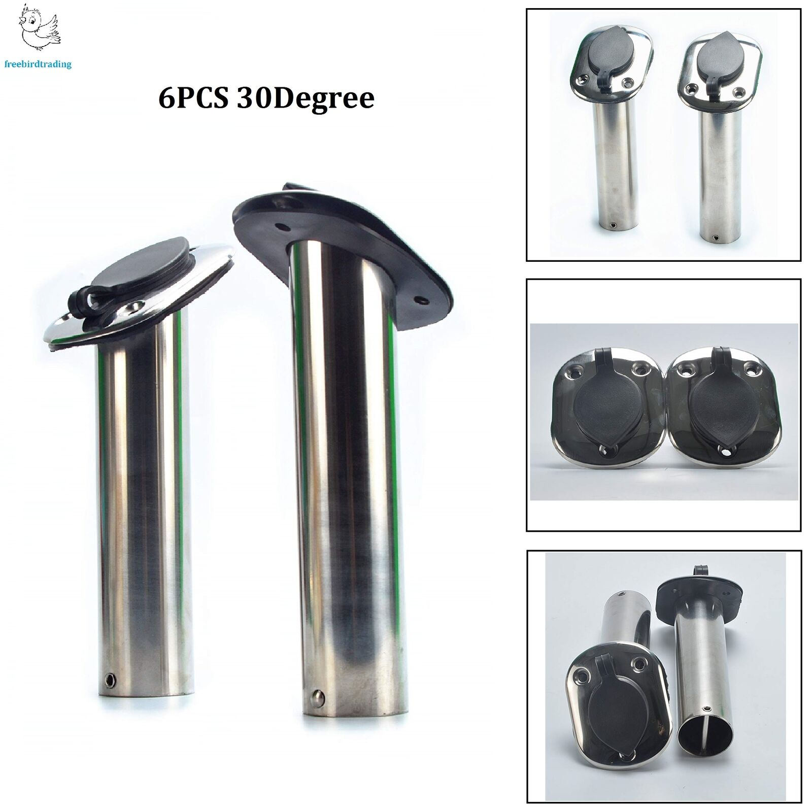 6PCS Rod Holder Flush  Mount Stainless Steel Fishing Rod Holders-30 Degree US  fast delivery and free shipping on all orders