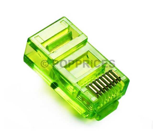 50Pcs CAT5e CAT5 RJ45 Colored Modular Network Cable LAN Connector End Plug Green