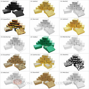 12 Jewelry Gift Boxes Cardboard Cotton Filled 3 14 x 2 14 x 1H