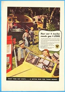 1937 Ethyl Gasoline Gas Vintage 1930's Campers Camping Trailer Photo Print Ad