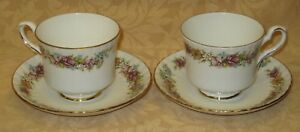 Details about 2 x Royal Stafford Love Story English Bone China Cups &  Saucers - more available