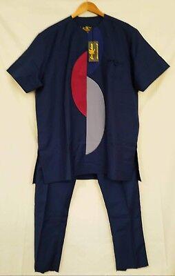 Fornitura Tradizionali Africane Men's Wear-africano Tuta Uomo-blu-taglia Xl (#m1)-mostra Il Titolo Originale Superficie Lucente