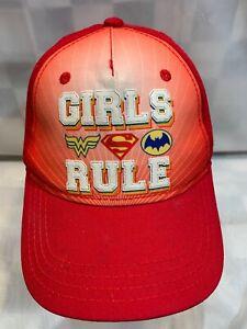 GIRLS RULE Superheros Wonder Woman BatGirl Snapback Youth Cap Hat