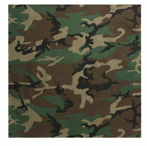 "22/""x22/"" Woodland Camo Jungle Camouflage Bandana"