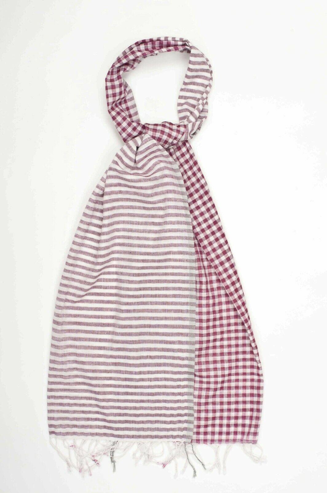 Gingham Check/revisado/a rayas de algodón verano Bufanda/Estola Reversible/Rojo Chal