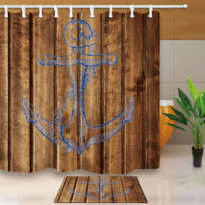 Image Is Loading New Nautical Anchor And Planks Polyester Fabric Bathroom