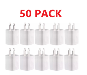 50X-1A-USB-Power-Adapter-AC-Home-Wall-Charger-White-FOR-Apple-Samsung-LG
