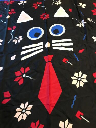 $78 Karl Lagerfeld multi color cat face  silk square scarf #1A