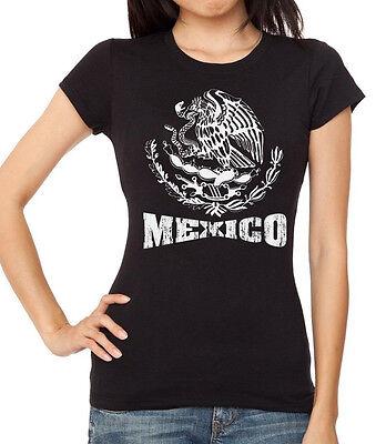 Junior/'s White Mexico Seal Black Racerback Tank Top Mexican Pride Chicano Latino