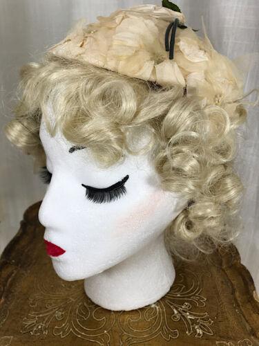 Vintage 50's White Rose Petal Bridal Hat