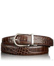 NWT TUMI men's 42 belt Crocodile leather brushed nickel hardware Brown $225