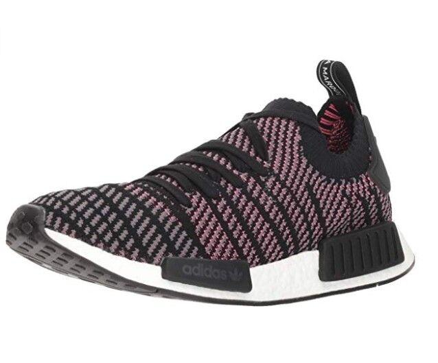 Adidas Originals Men's NMD_R1 STLT PK Running shoes, Black Grey Solar Pink, 8.5 M